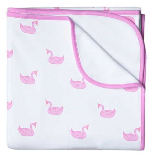 Baby Blanket Pink Swans