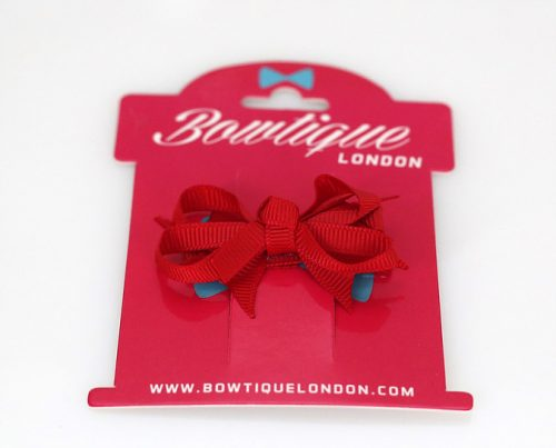 Red Grosgrain Bow Hair Clip (4cm)